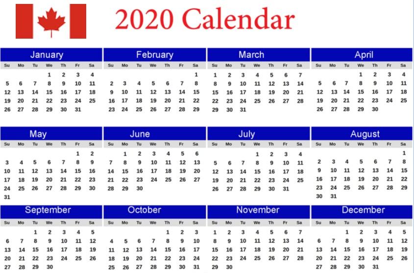 Printable 2020 Calendar Canada