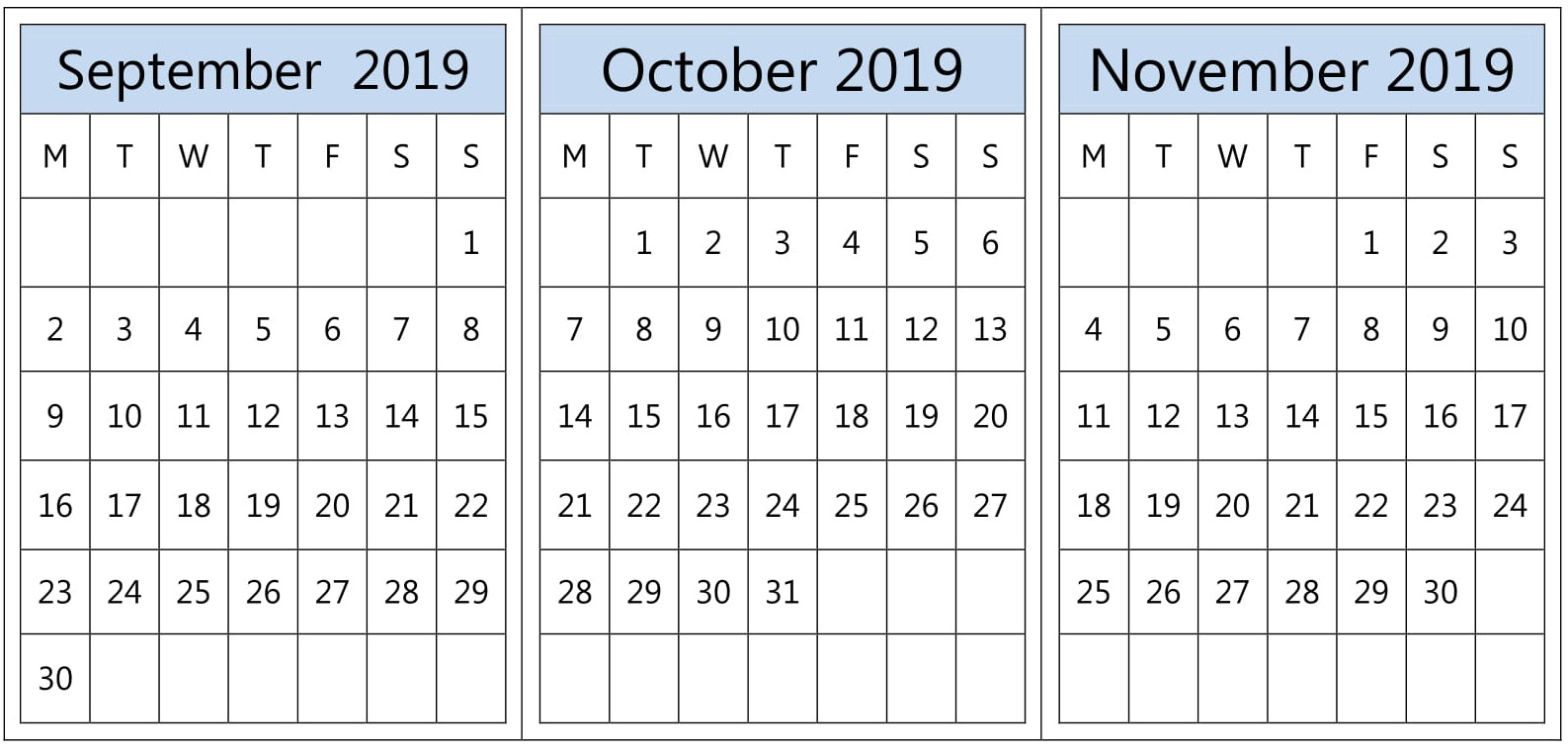 Printable Calendar September October November 2019