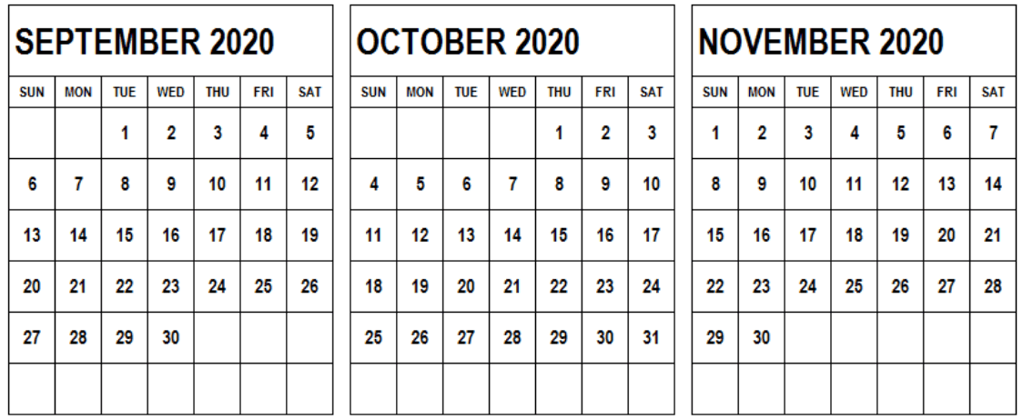 Printable Calendar September October November 2020