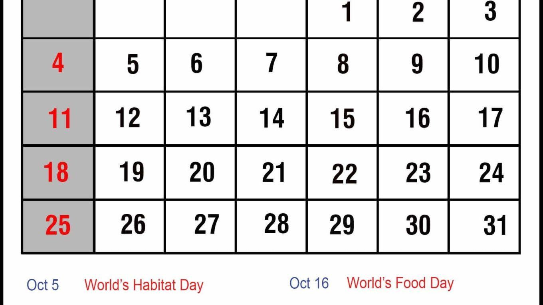 Printable October 2020 Holidays Calendar Template
