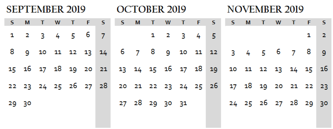 Sep Oct Nov 2019 Calendar