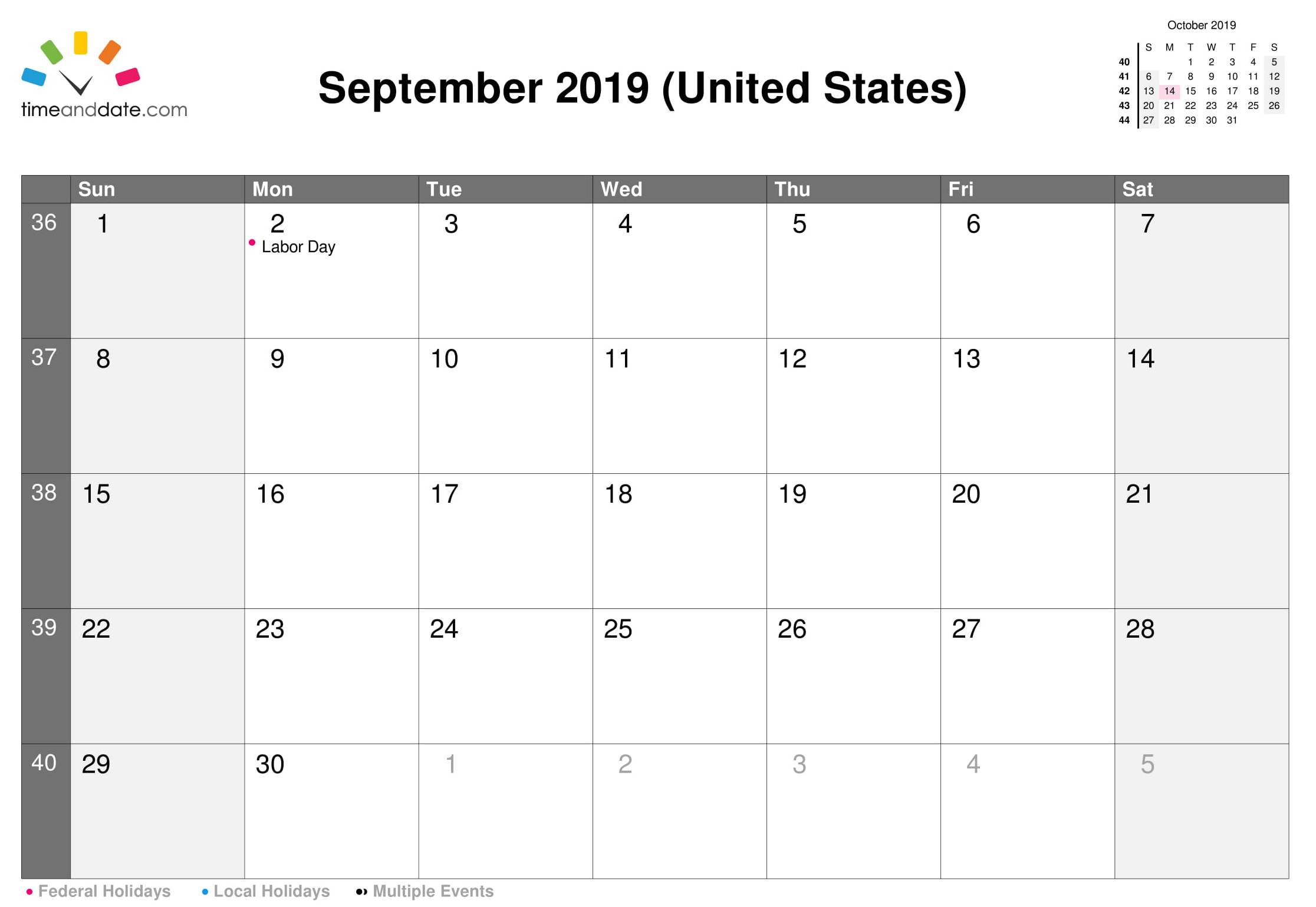 September 2019 Calendar USA Public Holidays