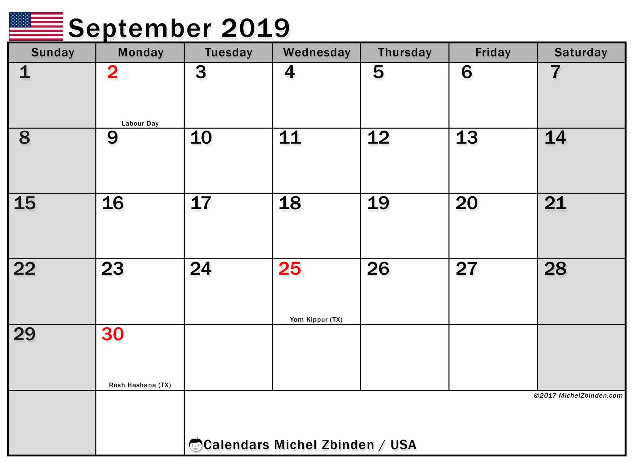 September 2019 Calendar USA