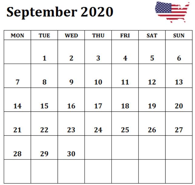 September 2020 Calendar USA
