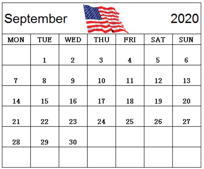 September 2020 Calendar United States