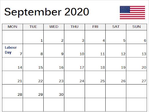 September 2020 USA Calendar with Holidays