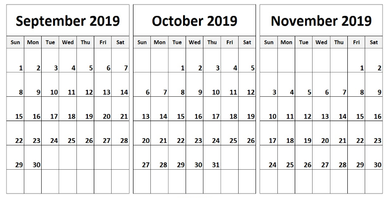 picture regarding Printable Nov. Calendar named Totally free Printable September Oct November 2019 Calendar Template