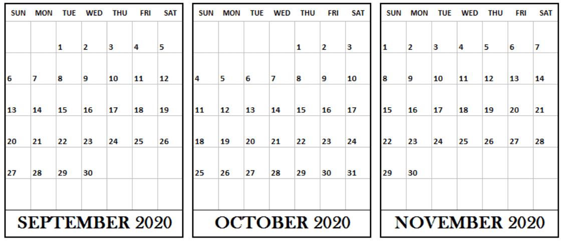 September October November 2020 Blank Calendar