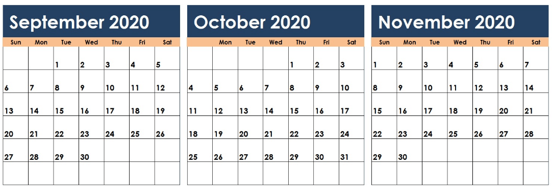 September October November 2020 Calendar Colorful
