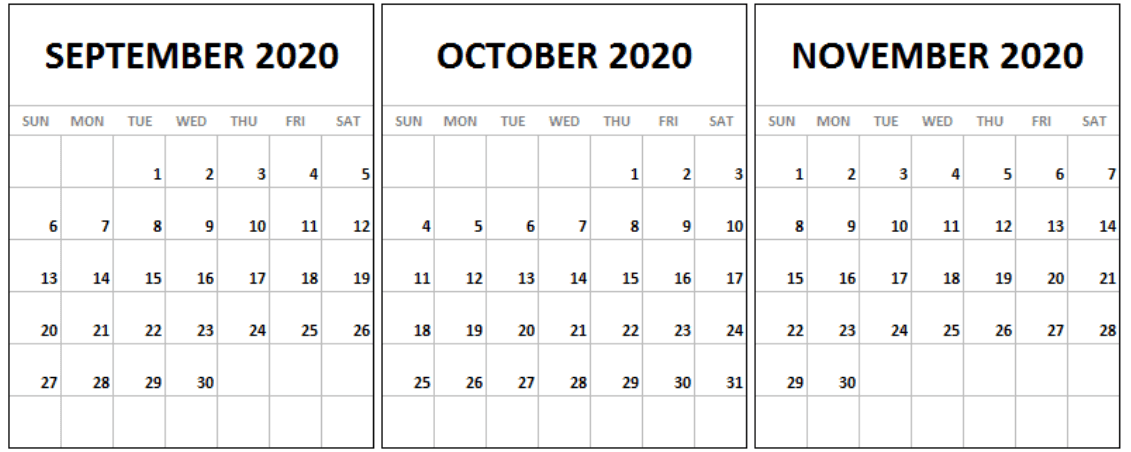 September October November 2020 Calendar Template