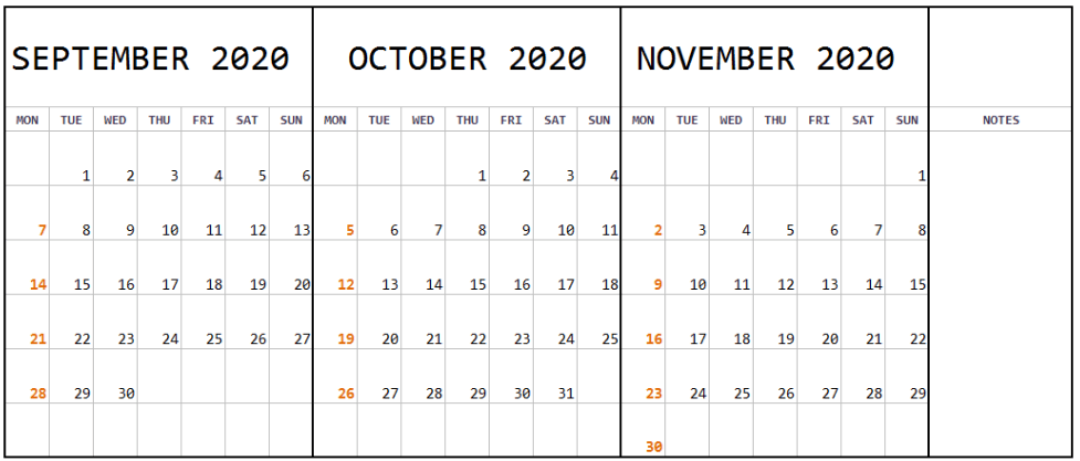 September October November 2020 Calendar with Notes