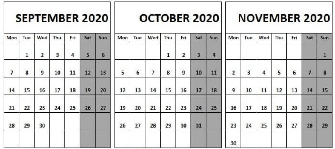 September October November 2020 Calendar
