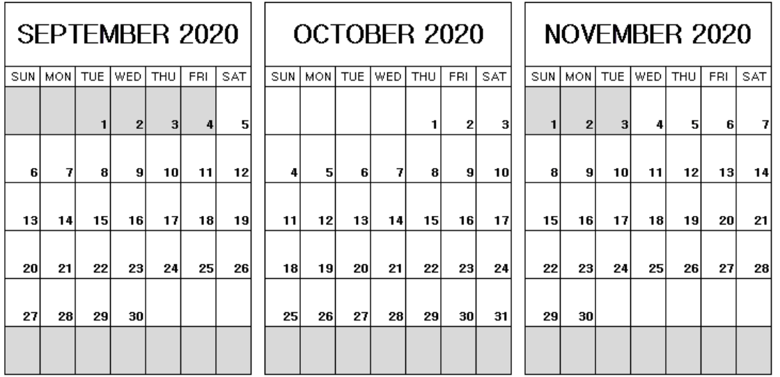September to November 2020 Calendar Printable