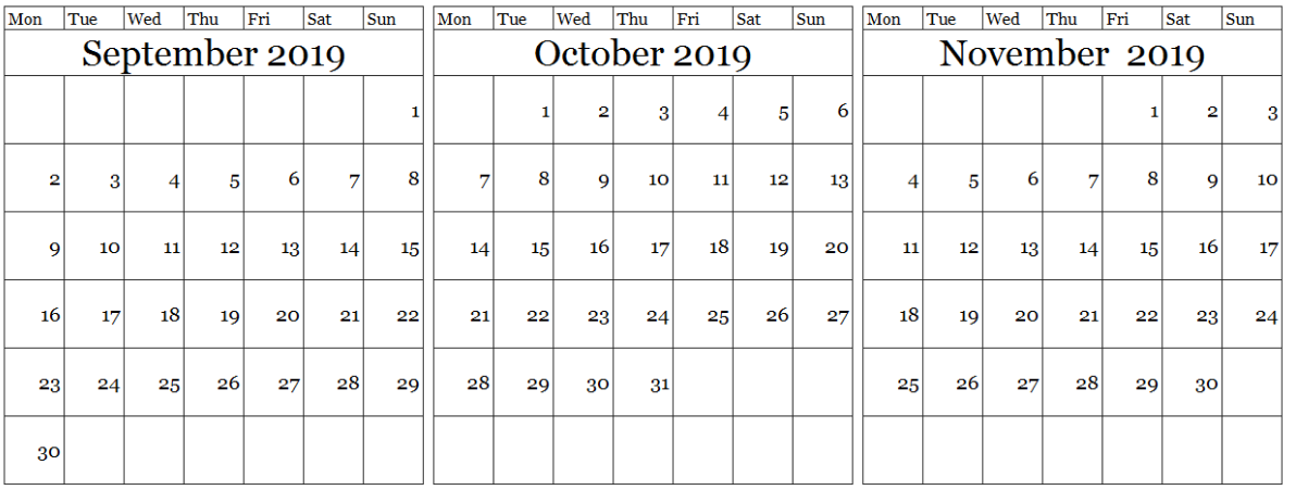 Three Month Calendar September October November 2019