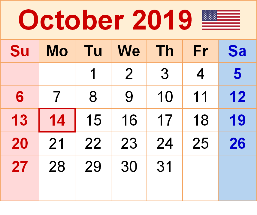 USA Holidays Calendar October 2019