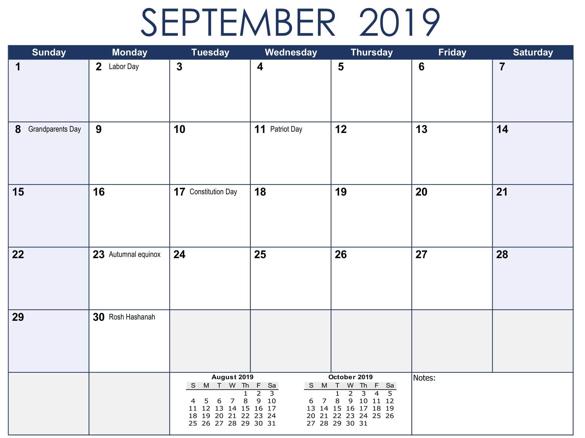 USA Holidays Calendar September 2019