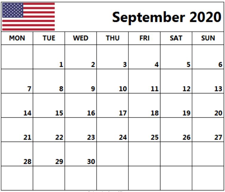 USA Holidays Calendar September 2020