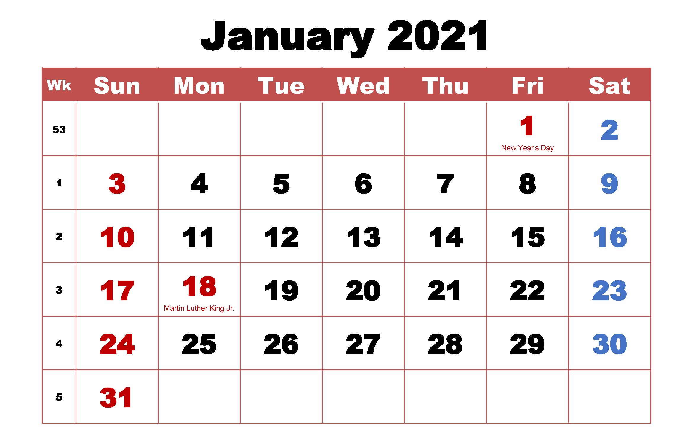 2021 January Calendar Template