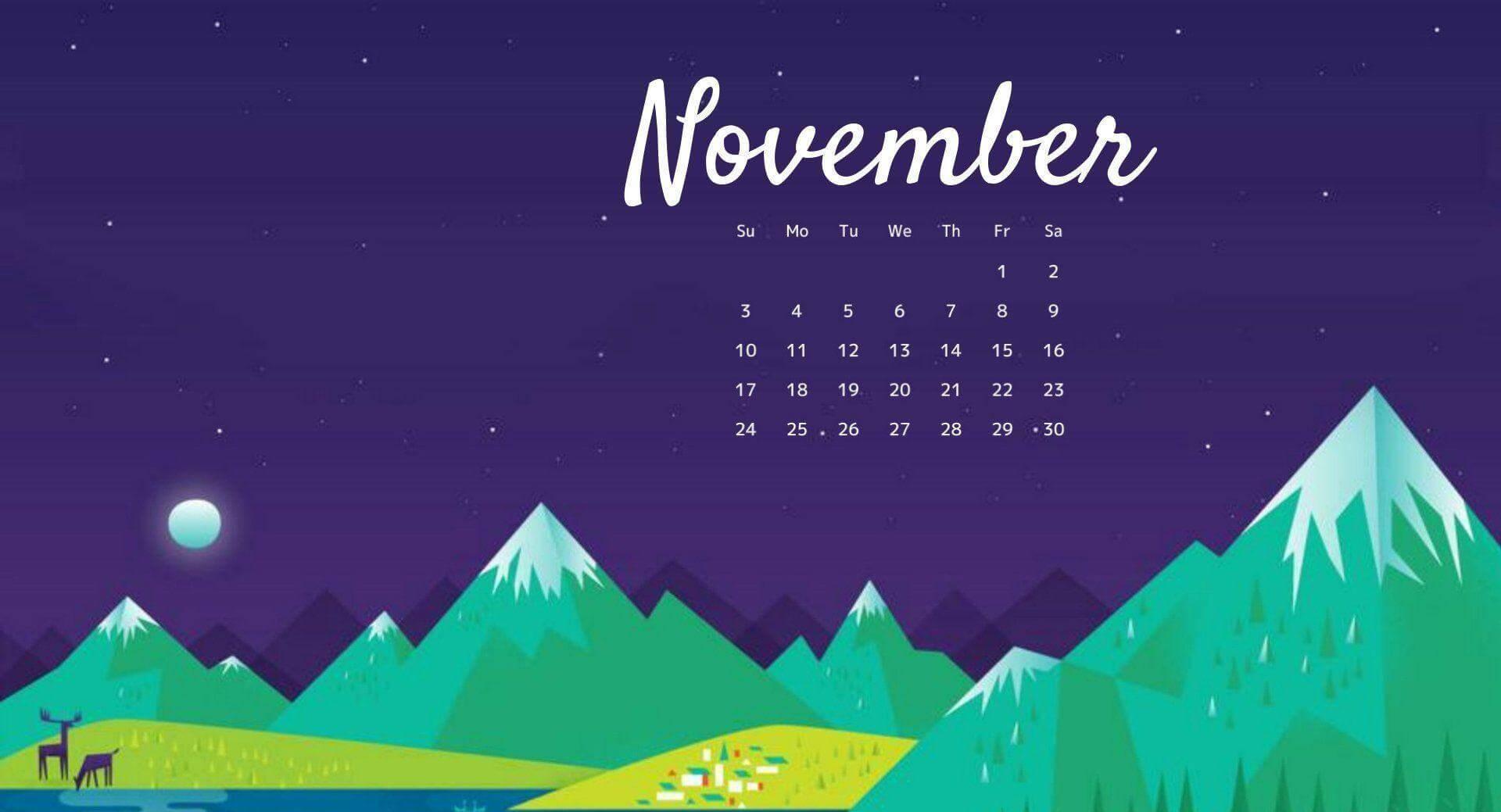 Beautiful November 2020 Calendar Wallpaper