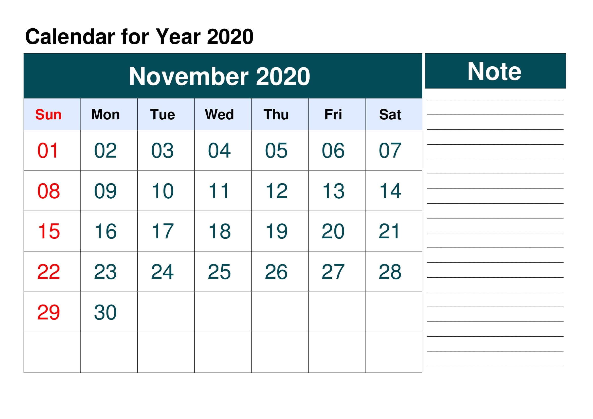 Blank Calendar For November 2020