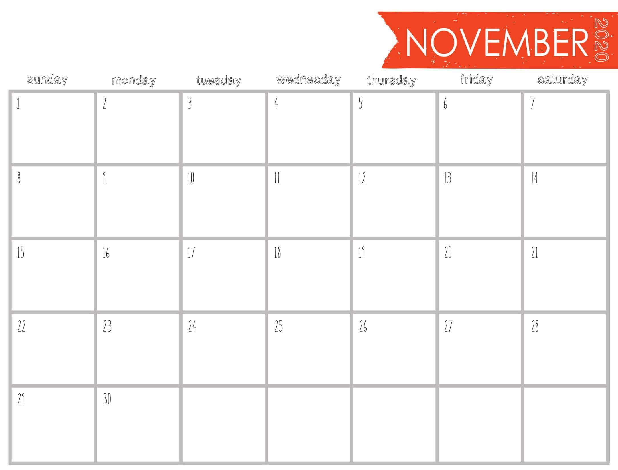 Blank Calendar November 2020 Editable