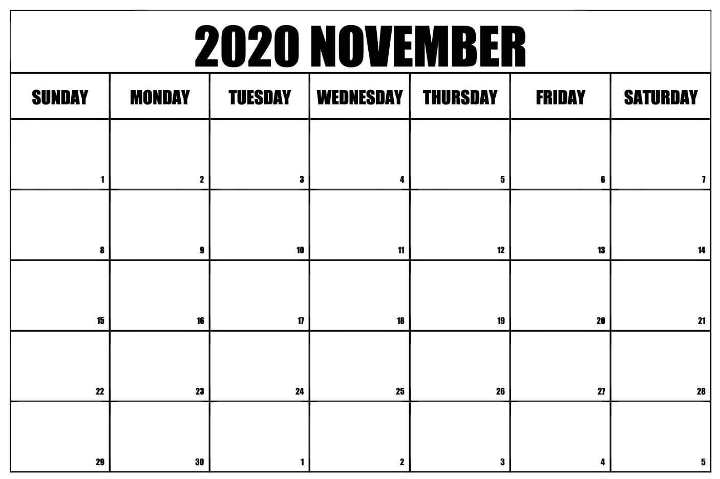 Blank Calendar November 2020 PDF