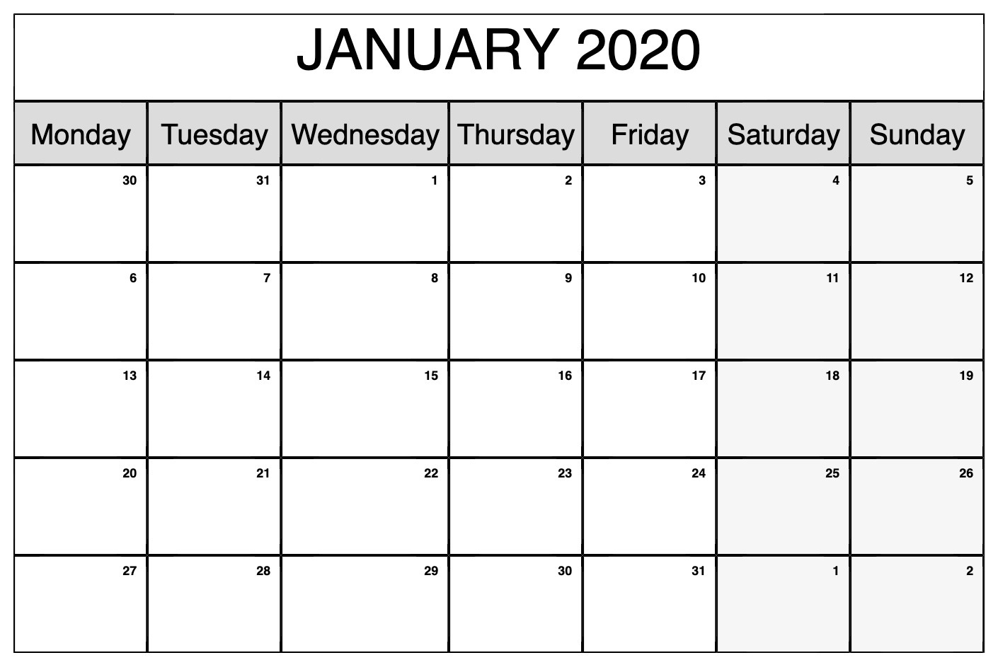 Blank Calendar Pages January 2020