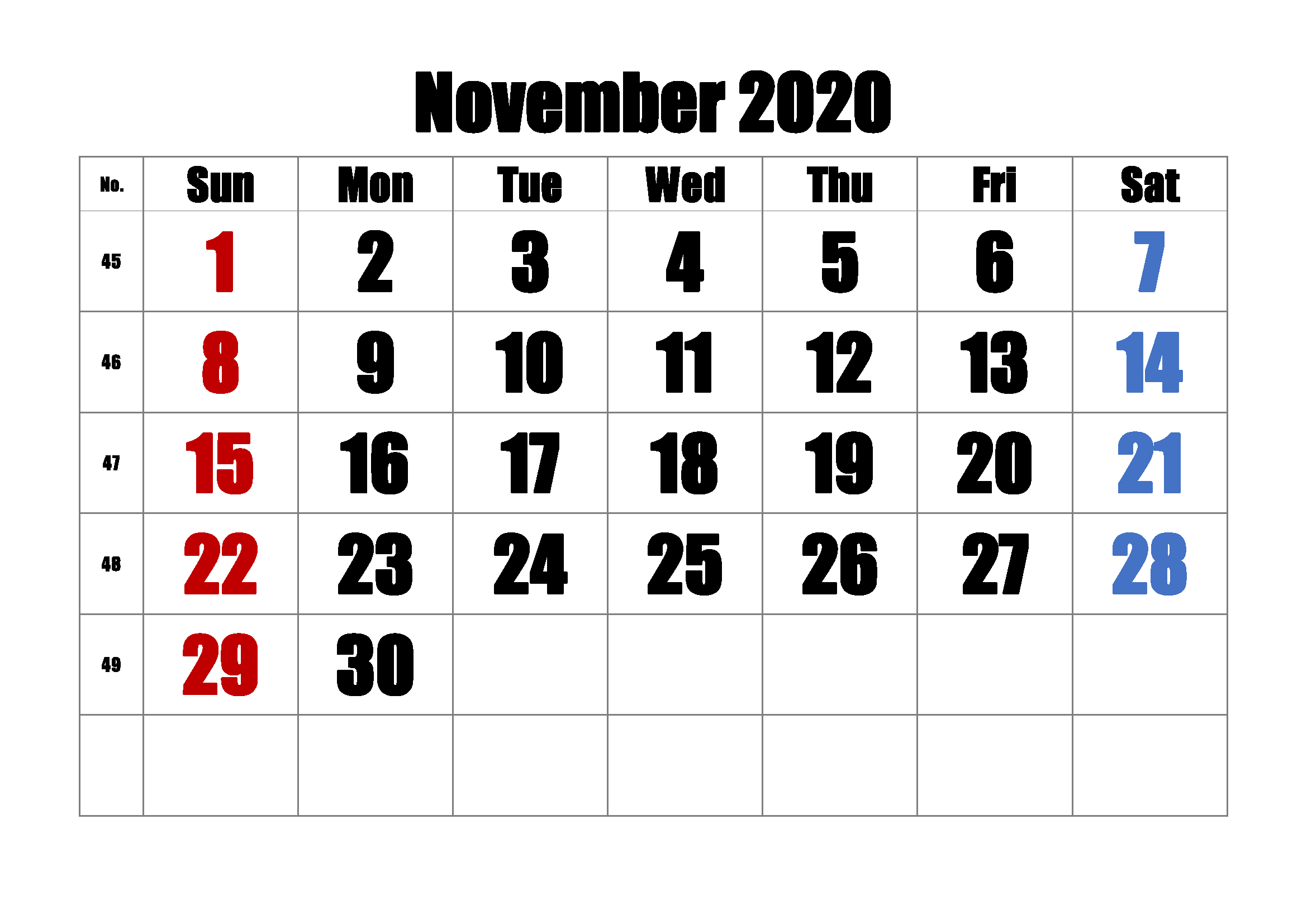 Blank Calendar Template November 2020
