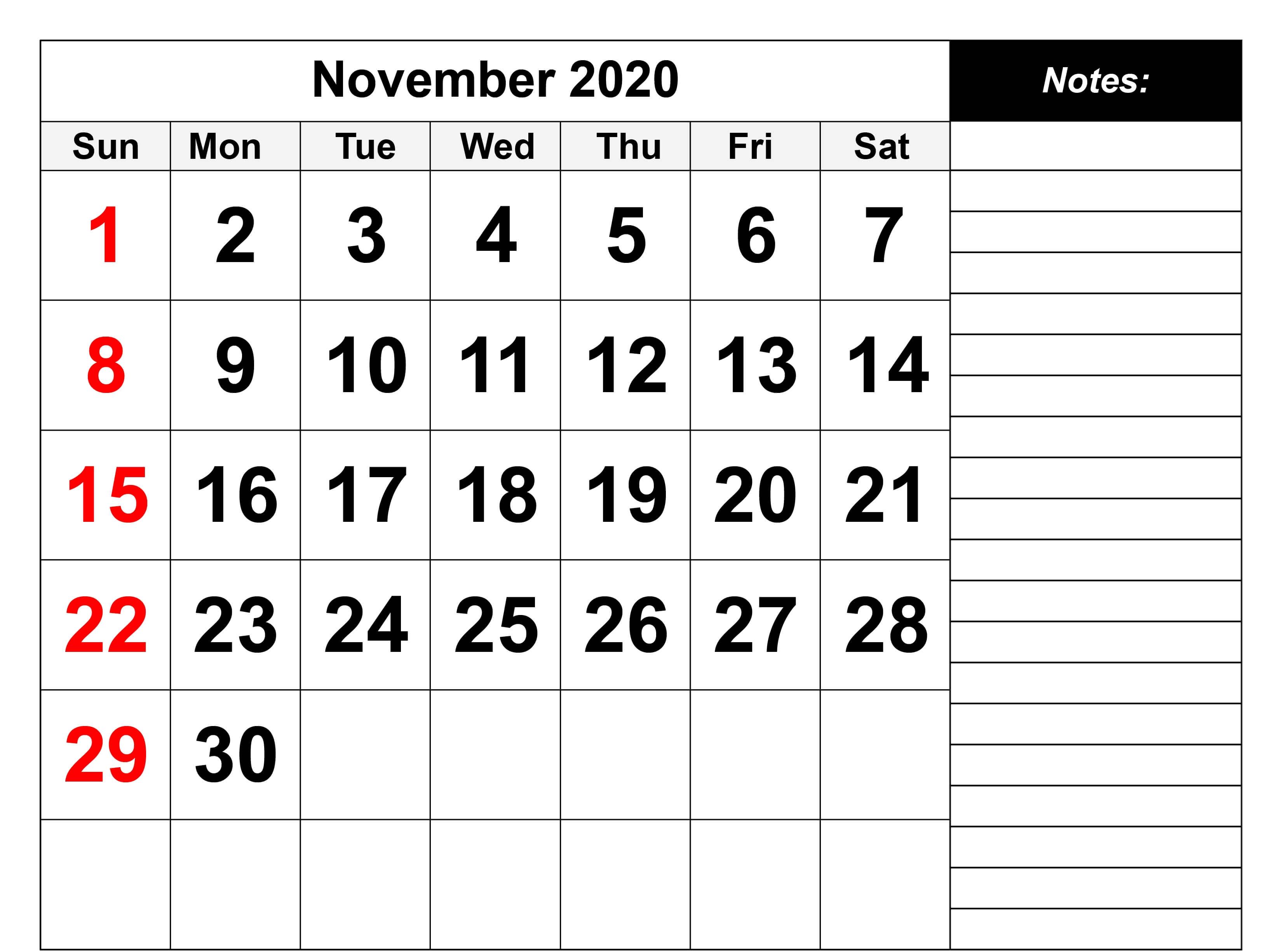 Blank November 2020 Printable Calendar