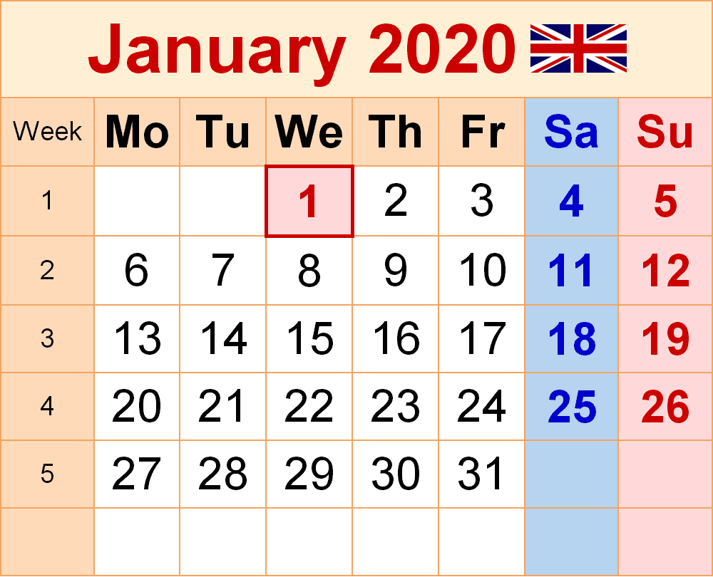 Calendar January 2020 UK
