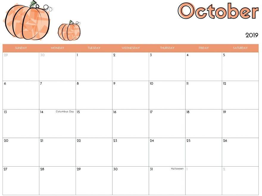 Cute Calendar for October 2019