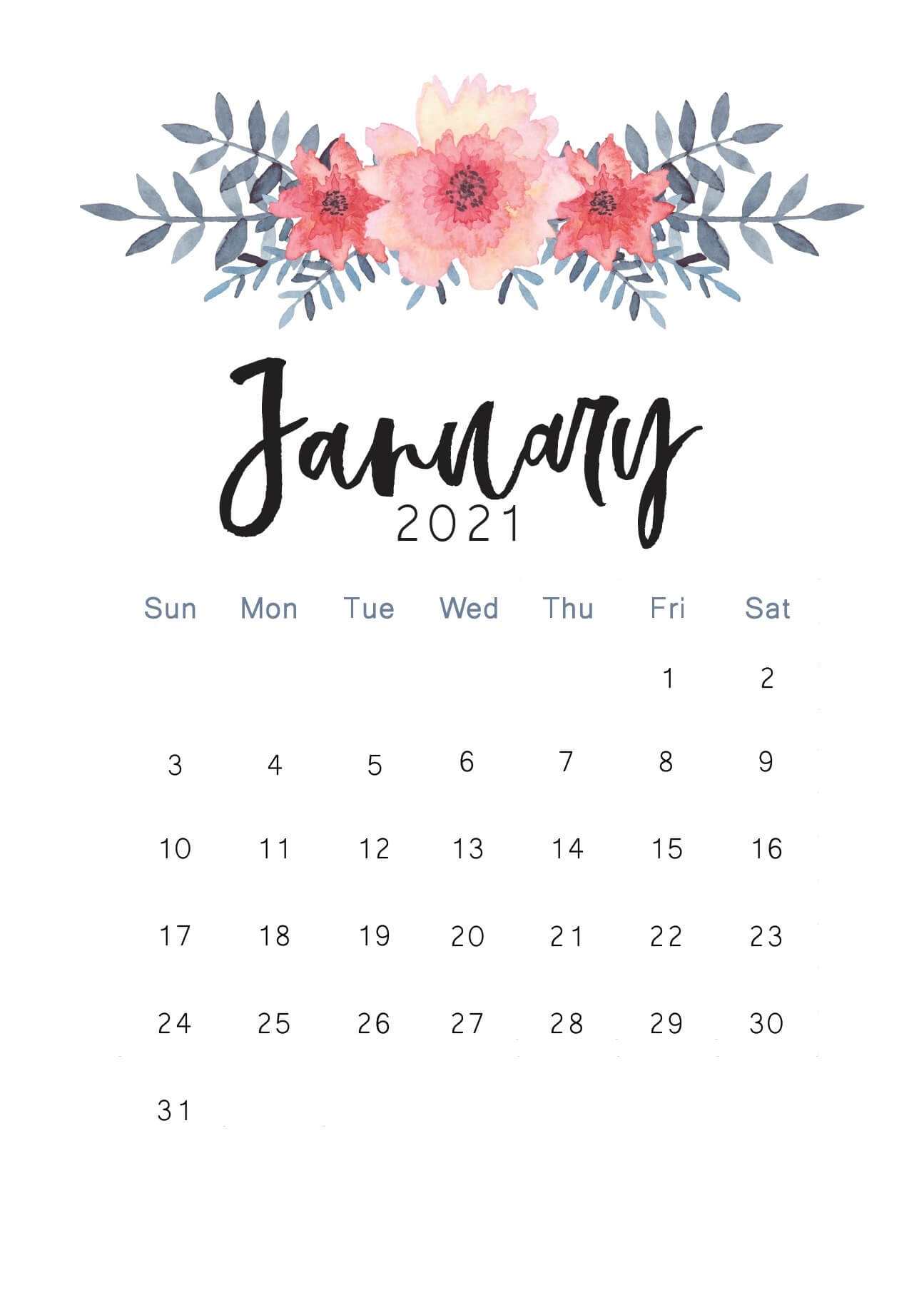 Cute January 2021 Wall Calendar