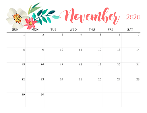 Cute November 2020 Calendar Blank