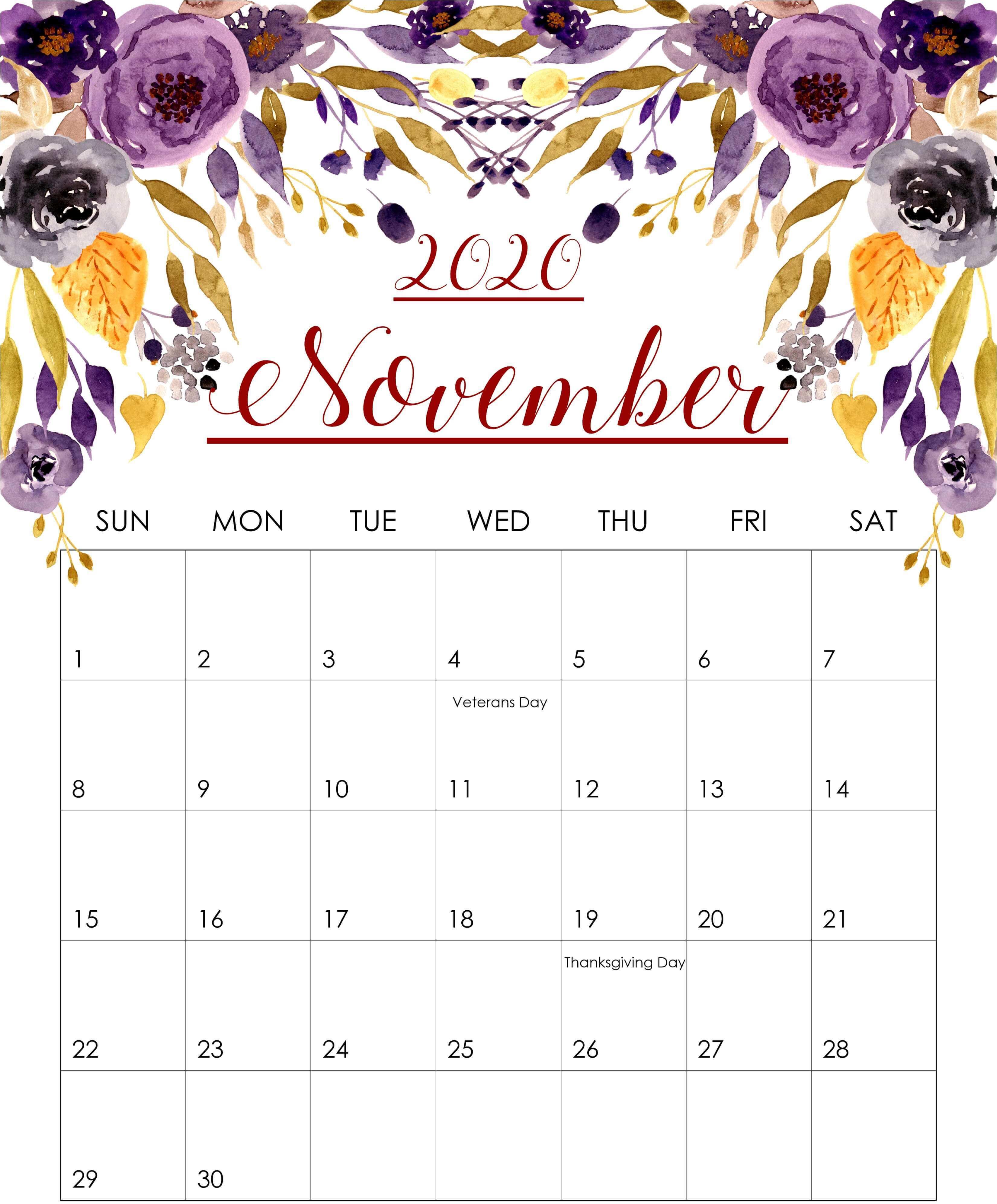 Cute November 2020 Printable Calendar