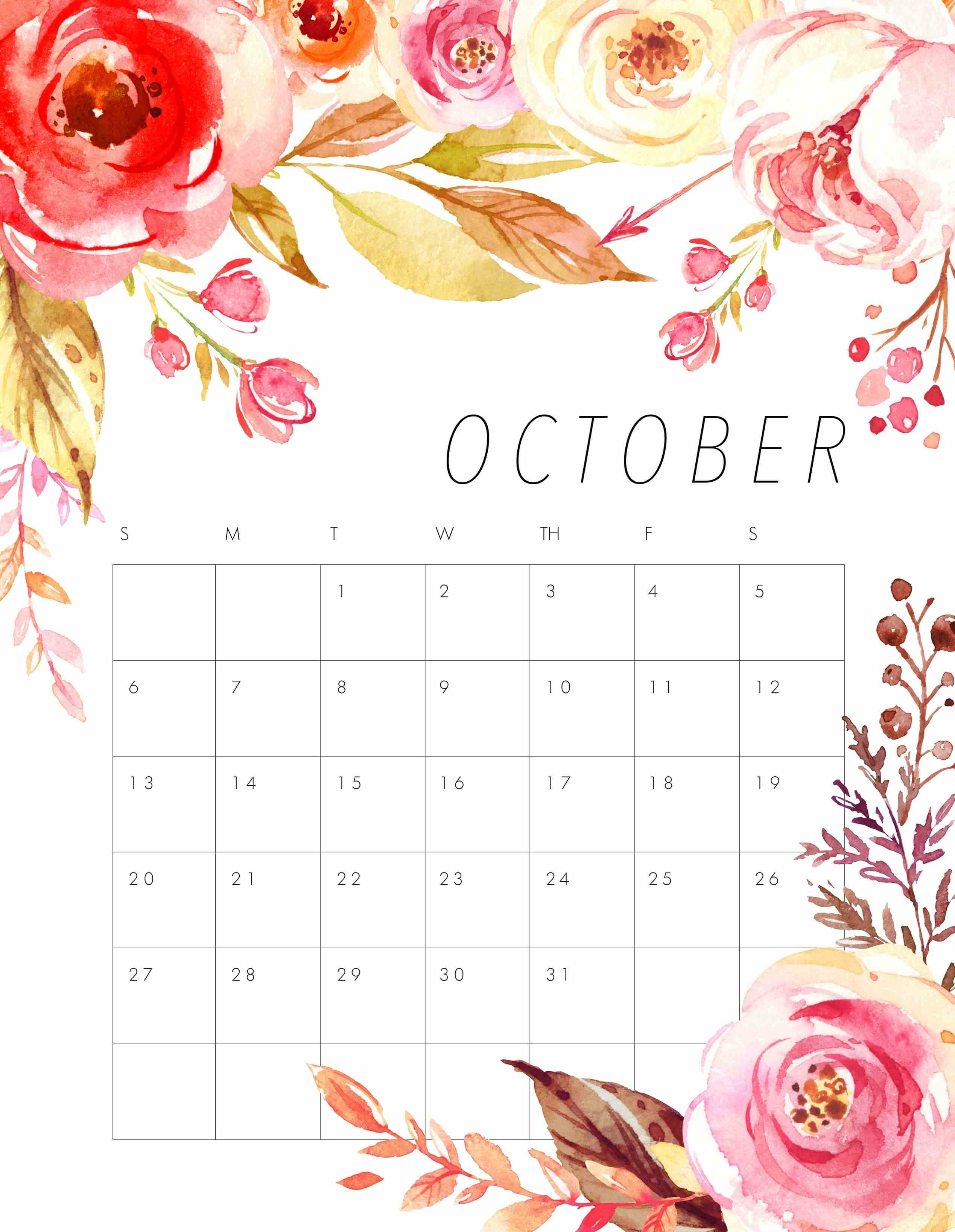 Cute October 2019 Floral Calendar