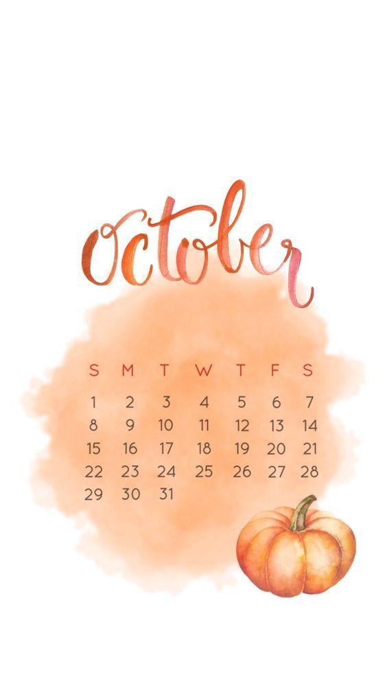 Cute October 2019 iPhone Calendar Wallpaper