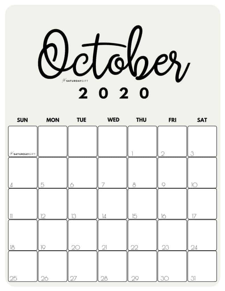 Cute October 2020 Calendar Template