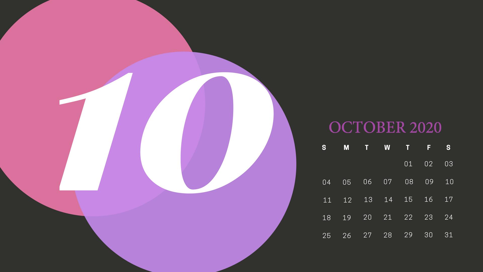 Cute October 2020 Calendar Wallpaper