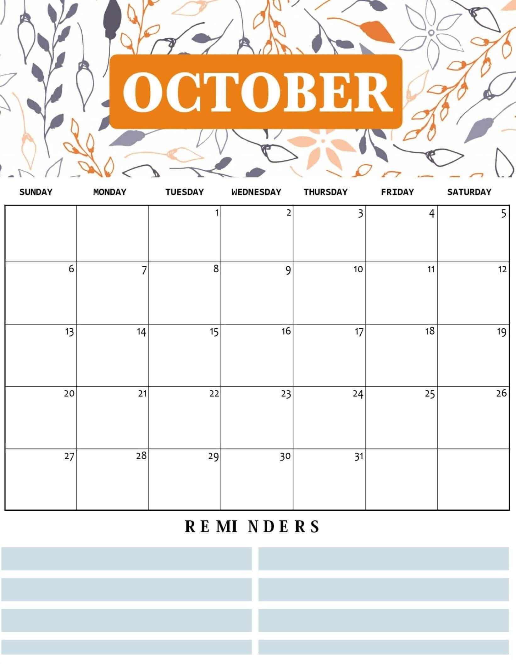 Cute October 2020 Floral Wall Calendar