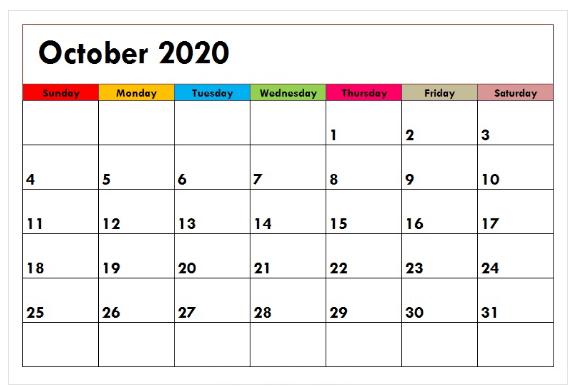 Decorative October 2020 Colorful Calendar Template