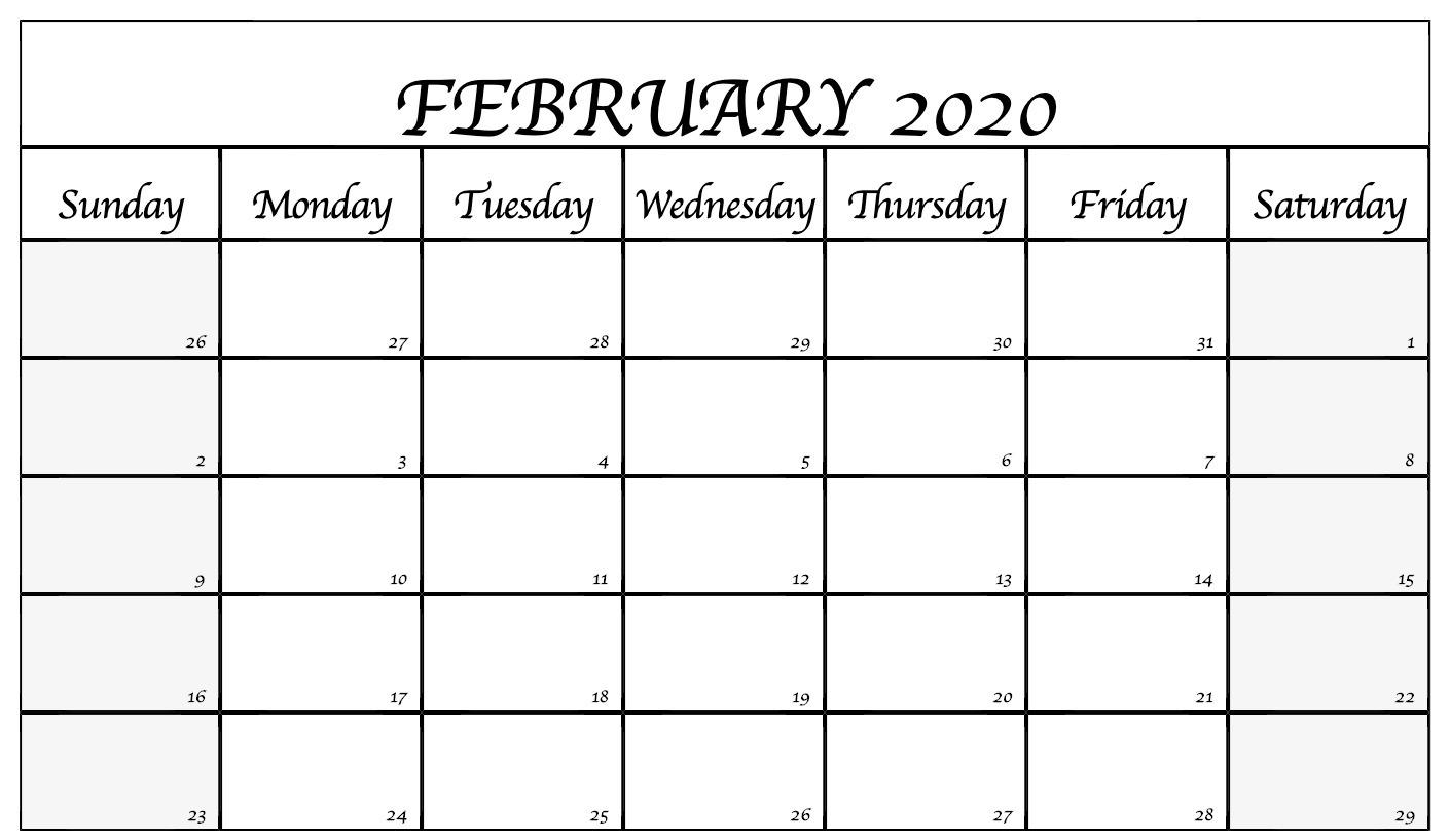 Editable February 2020 Calendar Template