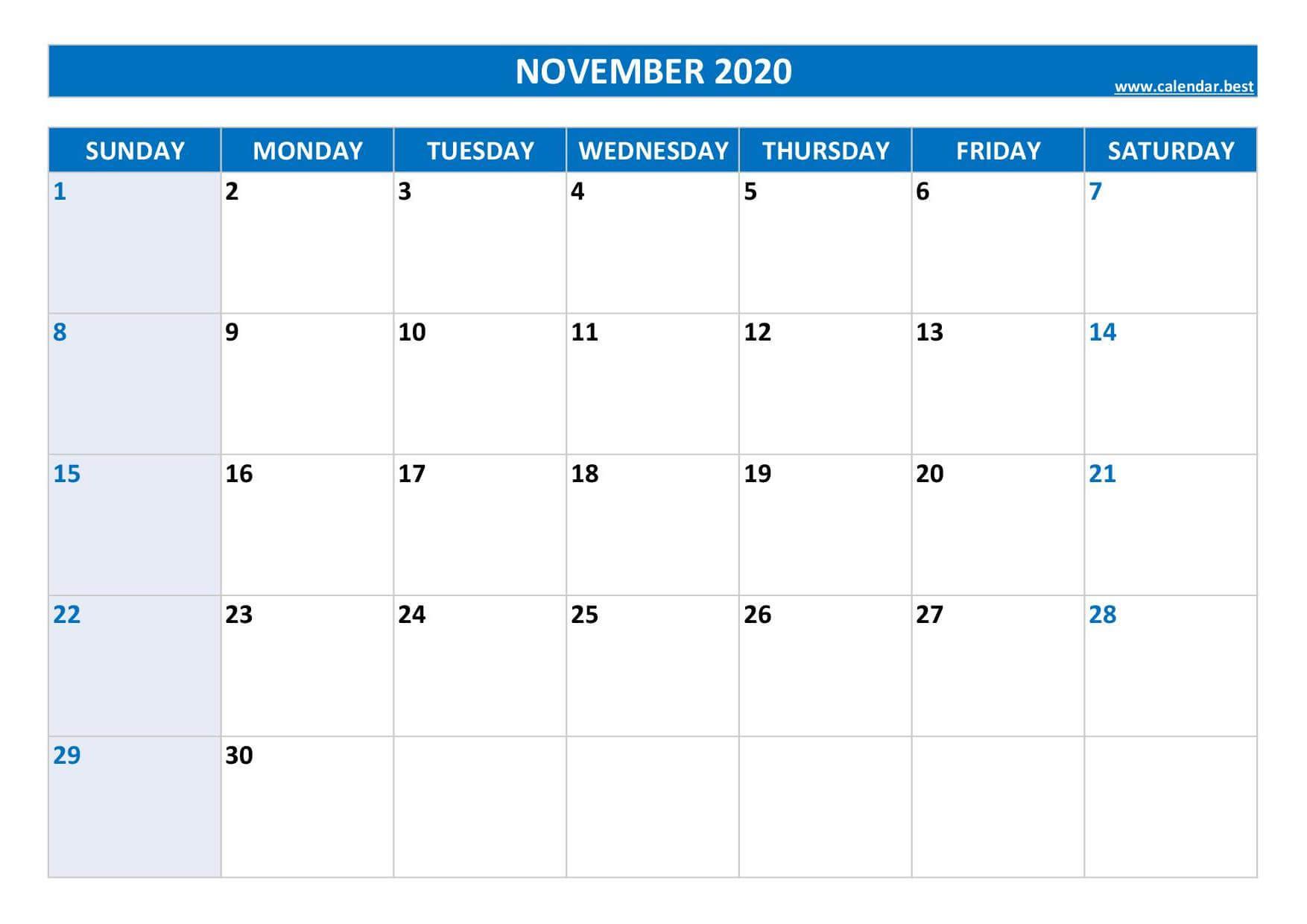 Editable November 2020 Calendar Blank Template