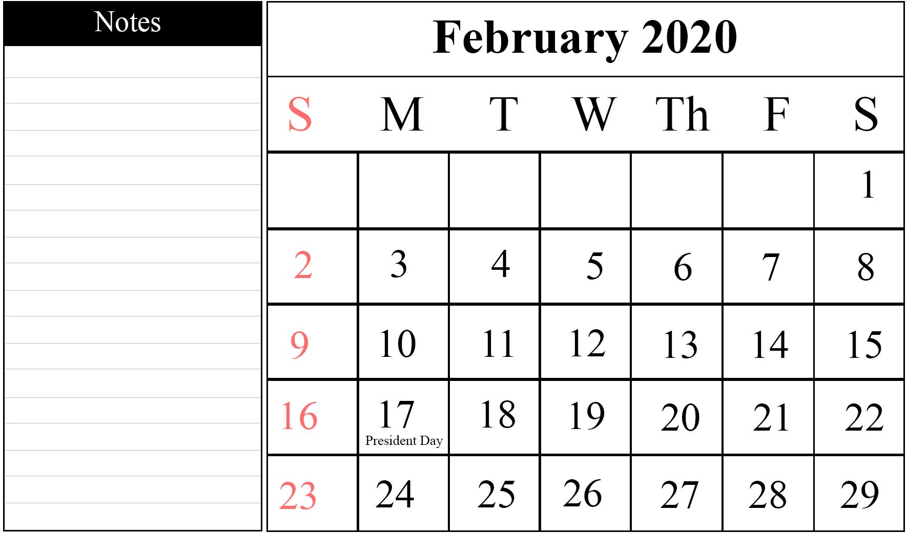 February 2020 Calendar Template