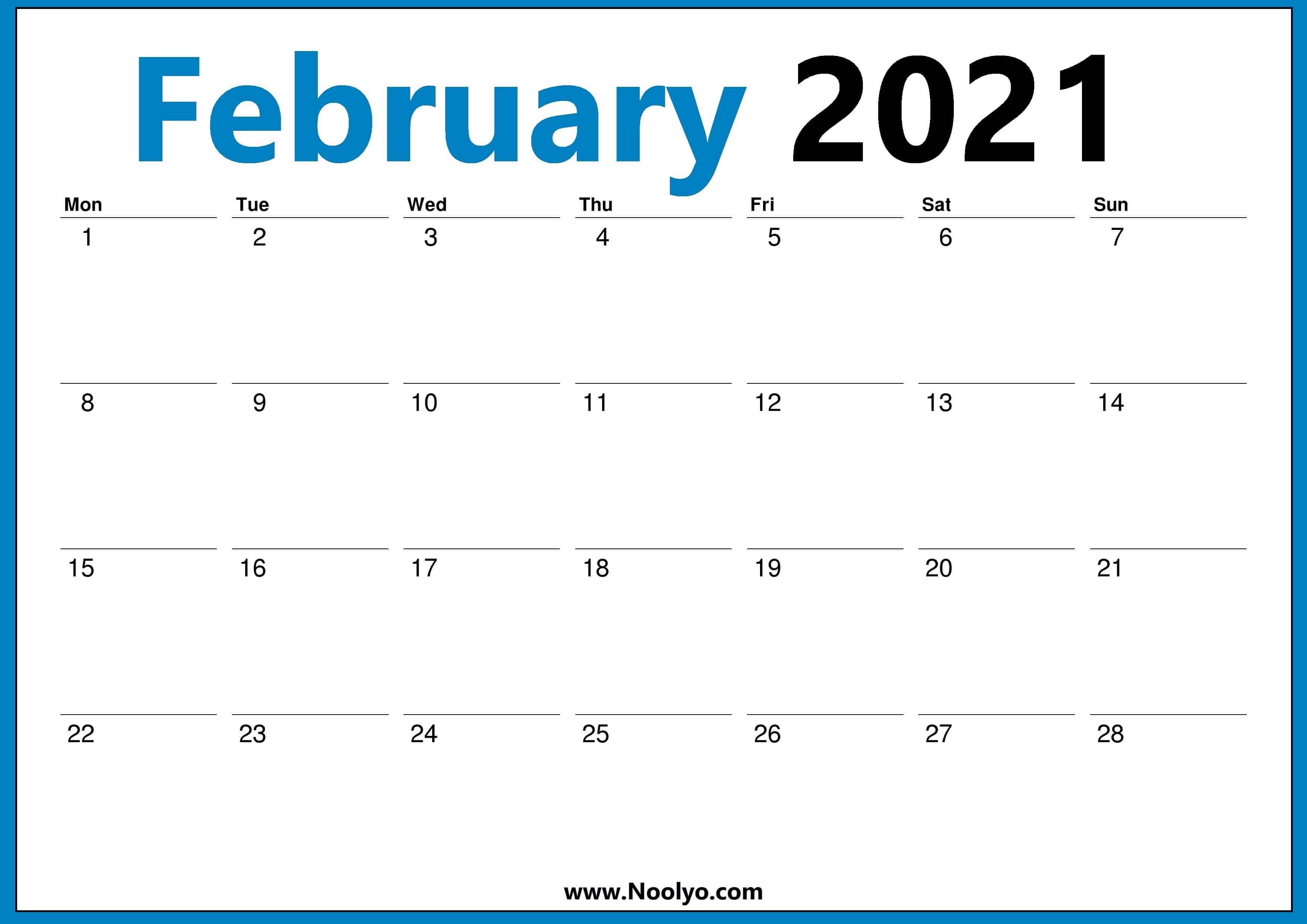 Monthly February 2021 Calendar - Blank Printable Template