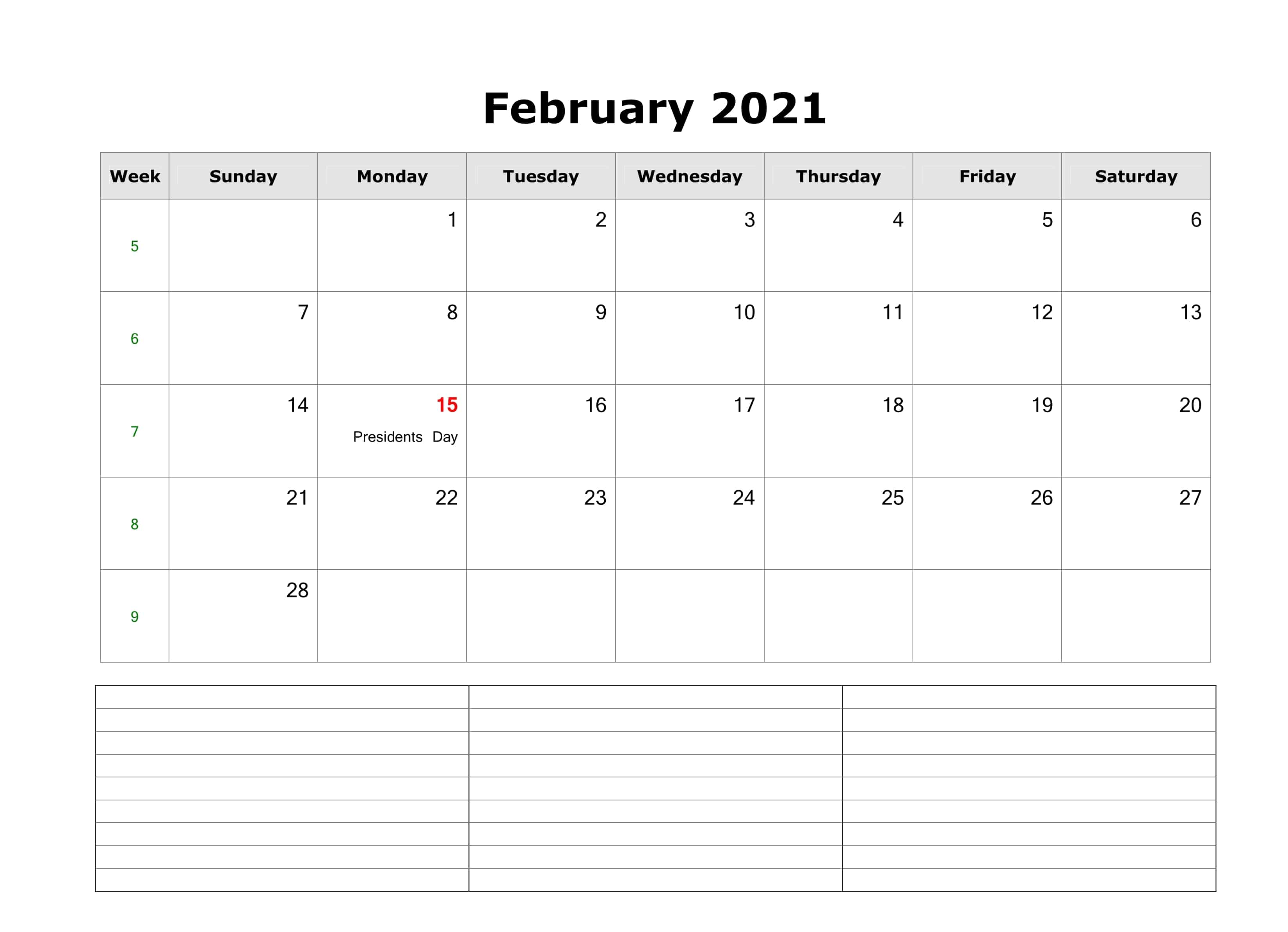 Fillable February 2021 Calendar with Notes