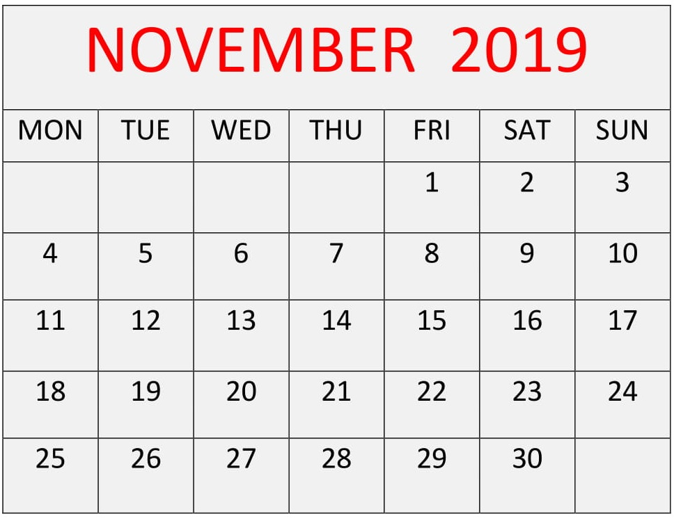 Fillable November 2019 Calendar Blank Template