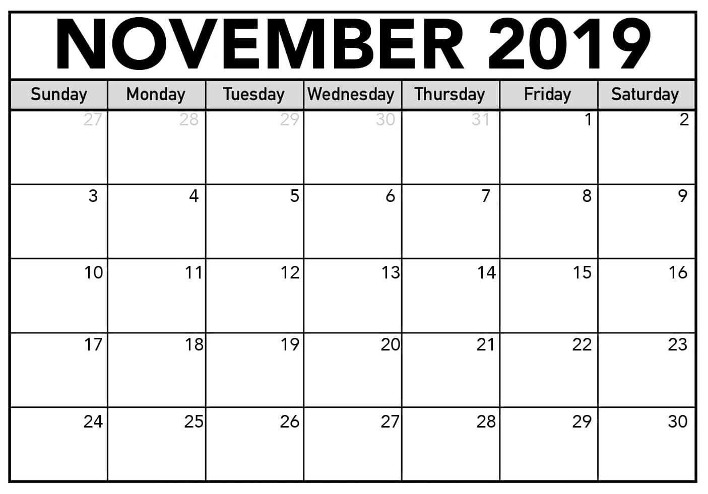 Fillable November 2019 Calendar Printable