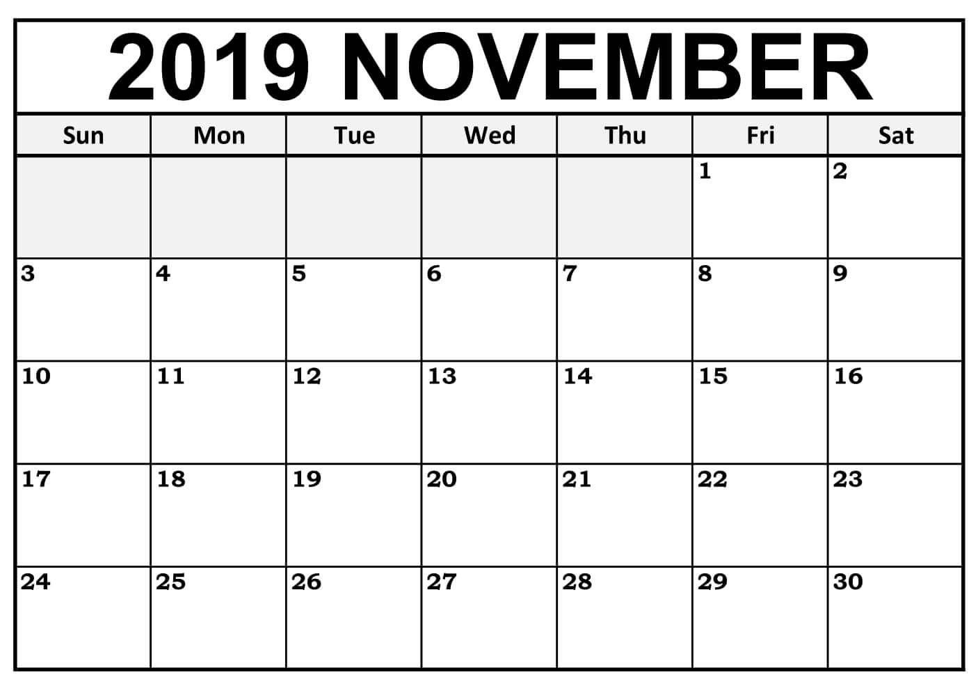 Fillable November 2019 Calendar