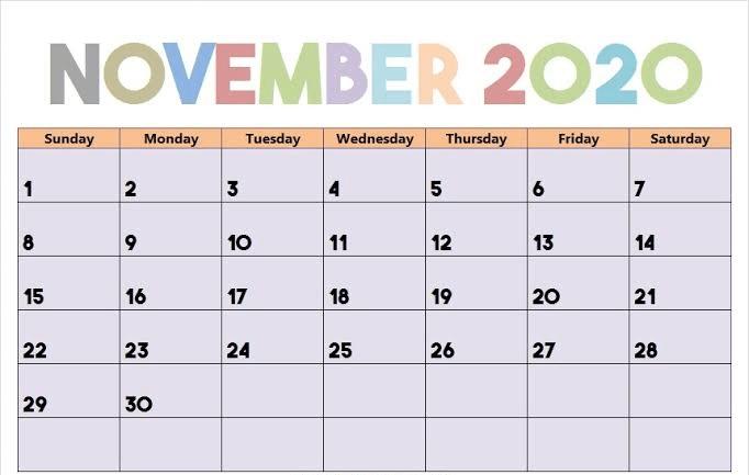 Fillable November 2020 Calendar Blank