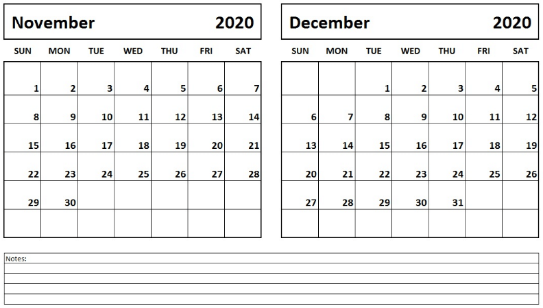 Fillable November December 2020 Calendar